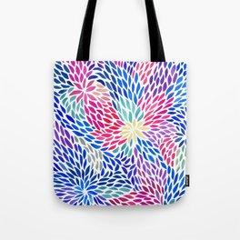 Flowing Leaves Purple & Blue Pattern Tote Bag