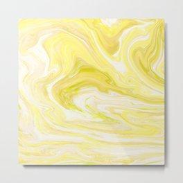 Yellow Glowing Marble Metal Print