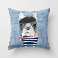 french Throw Pillows featuring French Bulldog. by Barruf