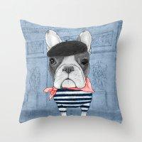 french bulldog Throw Pillows featuring French Bulldog. by Barruf