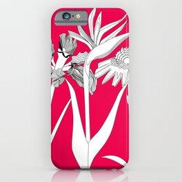 Spring Flowas Bring Girl Powas, Black and White Illustration iPhone Case