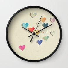 Paper Hearts Wall Clock