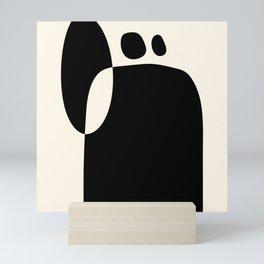 shapes black white minimal abstract art Mini Art Print