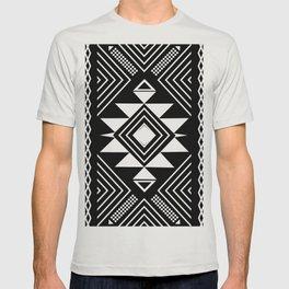 Aztec boho ethnic black and white T-shirt
