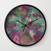 tie dye Wall Clocks featuring Pink Tie-dye by Marcelo Romero