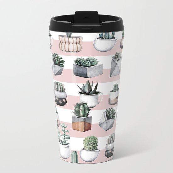 Potted Cactus Stripes Pink Rose Gold Metal Travel Mug