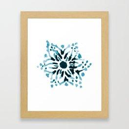 Teal Floral Watercolor Mandala Framed Art Print