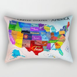 Watercolor Mosaic Map of America Rectangular Pillow