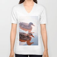 duck V-neck T-shirts featuring Duck by DistinctyDesign