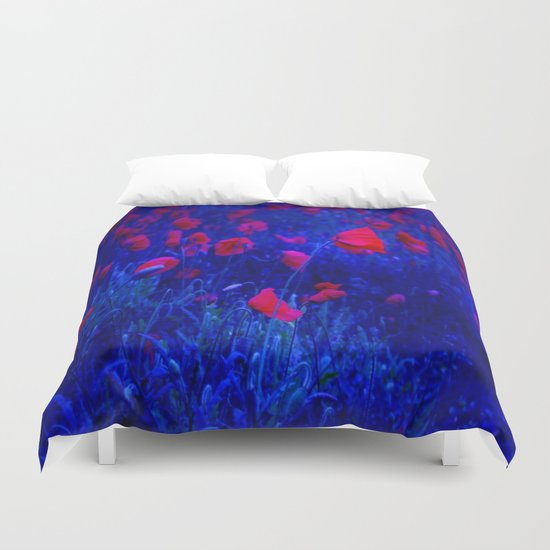 Red in Blue Duvet Cover