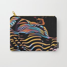 1731s-AK Striped Vulval Portrait Zebra Woman Power Pose by Chris Maher Carry-All Pouch