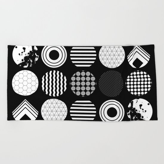 Ecelctic Geometric 2 - Black and white multi patterned design Beach Towel