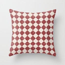 Farmhouse Checkerboard in Brick Red on Cream Throw Pillow