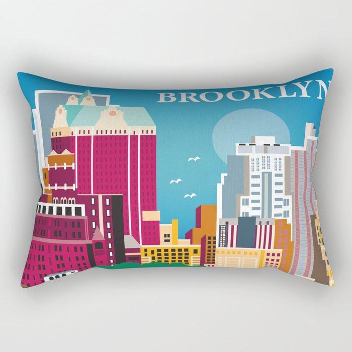 Brooklyn, New York - Skyline Illustration by Loose Petals Rectangular Pillow