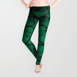 Green cracked wall Leggings