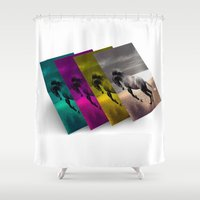 popart Shower Curtains featuring PopArt HORSE by MehrFarbeimLeben