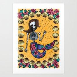 Skeleton Mermaid Art Print