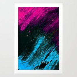 Neon Pink and Blue Neon Space Art Print
