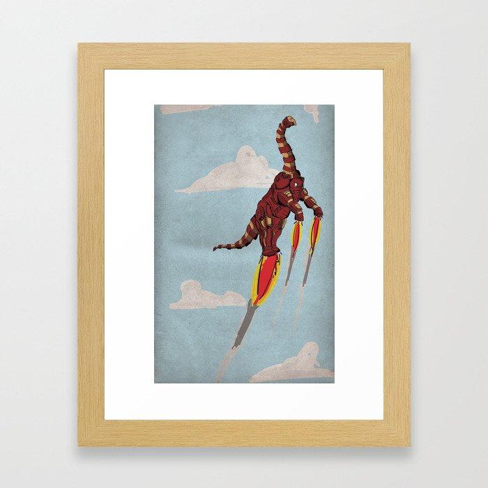 Iron Brontosaurus - Superhero Dinosaurs Series Framed Art Print