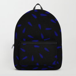 Blue Navy Water Drops on Black Background Backpack