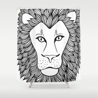 leo Shower Curtains featuring Leo by Julie Erin Designs
