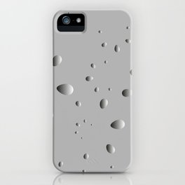 Convex drops and petals on a gray background in nacre. iPhone Case