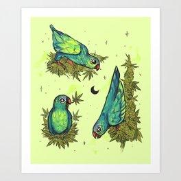 Parrots & Weeds Art Print