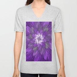 Psychedelic Purple Flower, Fractal Art Unisex V-Neck