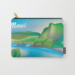 Maui, Hawaii - Skyline Illustration by Loose Petals Carry-All Pouch