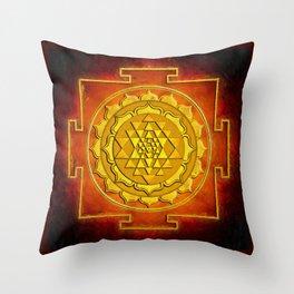 Sri Yantra - Warming Fire Throw Pillow
