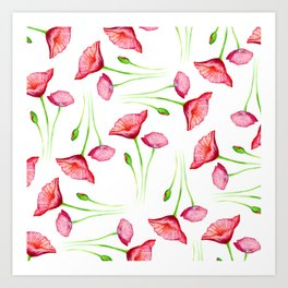 Poppy pattern Art Print