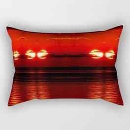 ocean glitch red Rectangular Pillow