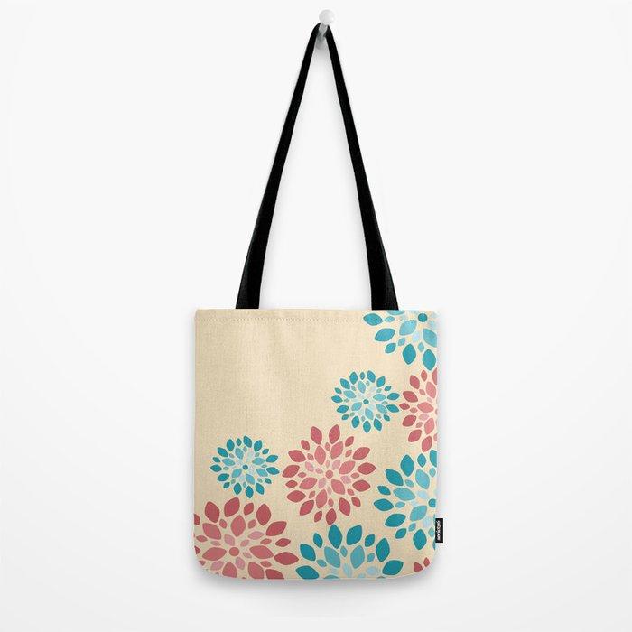 Flower Flurries Beige Tote Bag