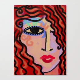 Bright Eyes Abstract Digital Portrait of a Woman Canvas Print