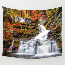Autumn Waterfall Wall Tapestry