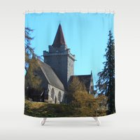 scotland Shower Curtains featuring Crathie Church, Balmoral, Scotland by Phil Smyth