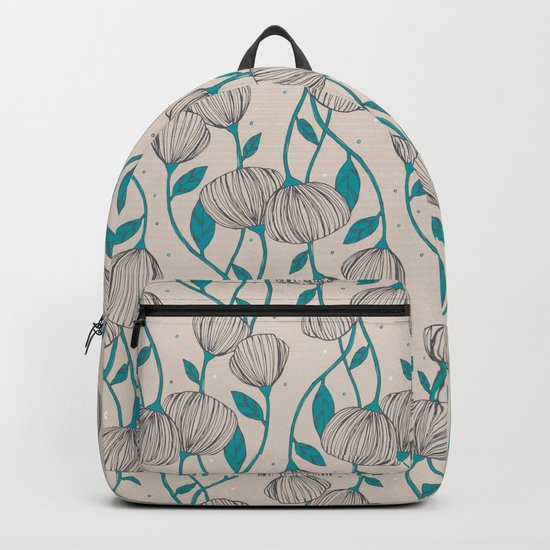Blue Stem Flowers Backpack