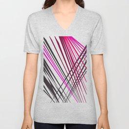 Pink wood texture lines geom. Unisex V-Neck