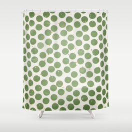 Green Dots and Gold Stars Shower Curtain