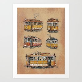 Old vintage yelow trams -nostagic pubic transport Art Print