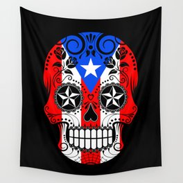 Sugar Skull with Roses and Flag of Puerto Rico Wall Tapestry