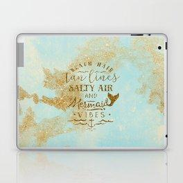 Beach - Mermaid - Mermaid Vibes - Gold glitter lettering on teal glittering background Laptop & iPad Skin