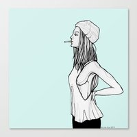 tank girl Canvas Prints featuring Tank by fossilized