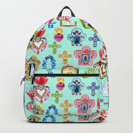 Hand Painted Mexican Inspired Religious Artisan Market Pieces in Turquoise Backpack