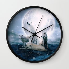 Wolves and the polar bear by GEN Z Wall Clock