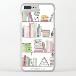 Bookshelf with cats - Watercolor illustration Clear iPhone Case