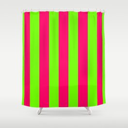Bright Neon Green and Pink Vertical Cabana Tent Stripes Shower Curtain