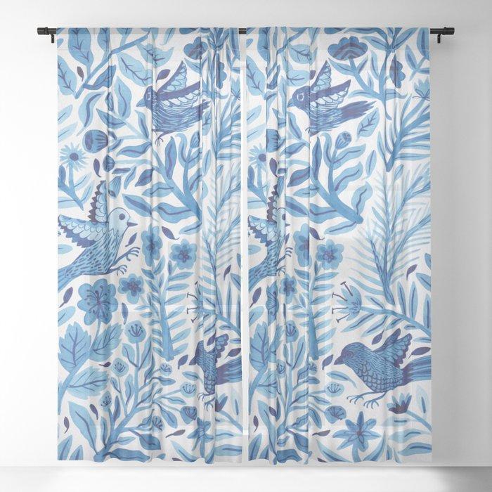 Birds in Blue Sheer Curtain