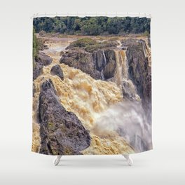 Powerful water going over the falls Shower Curtain