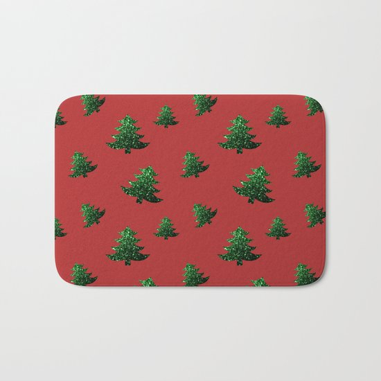 Christmas tree green sparkles pattern on Red Bath Mat
